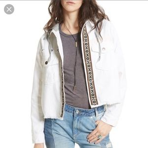 Free People white hooded distressed jean jacket